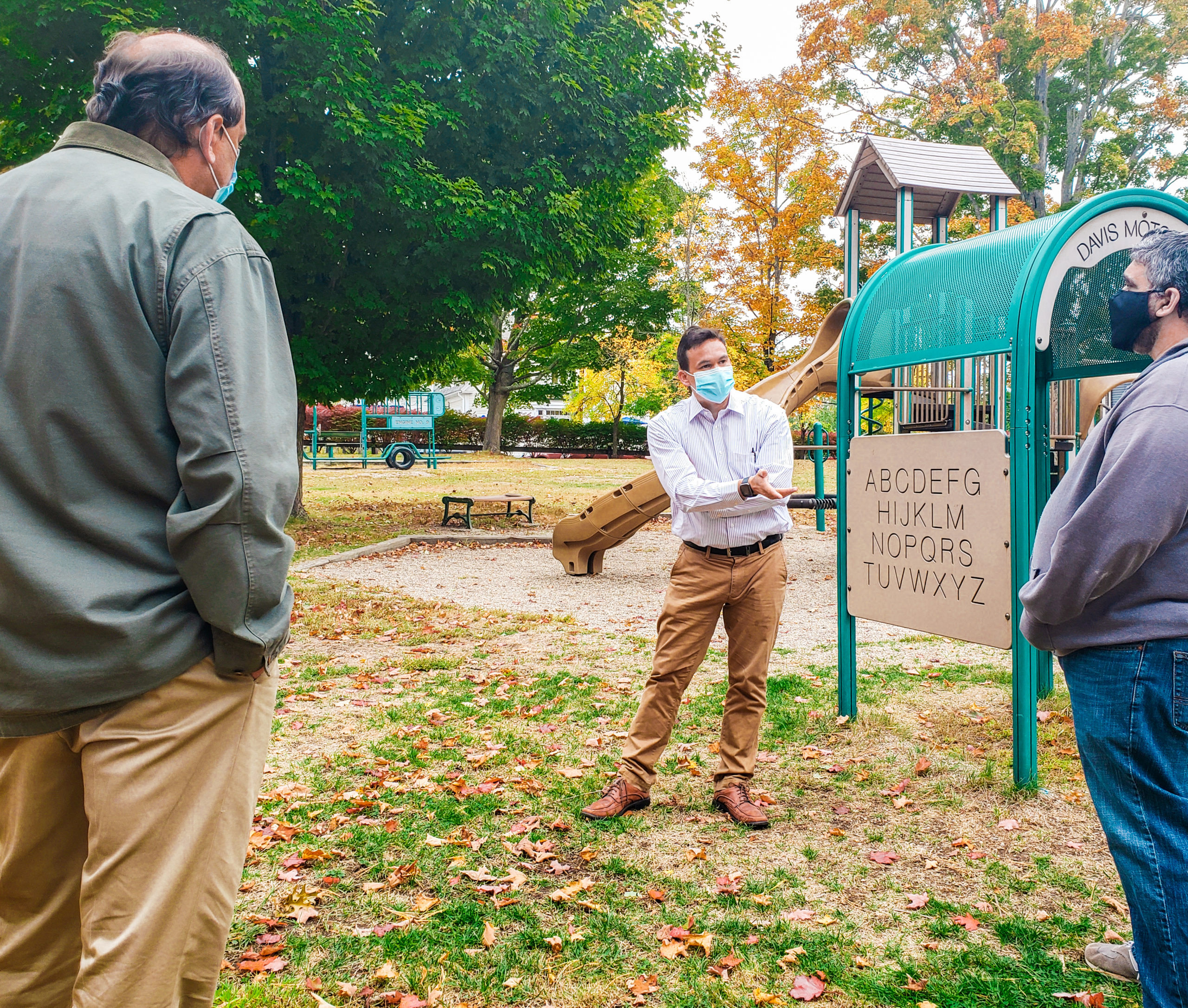 Rep. Sena asks Paul Swydan of Friends of Gardner Field a question about proposed renovation of the park, Acton, MA