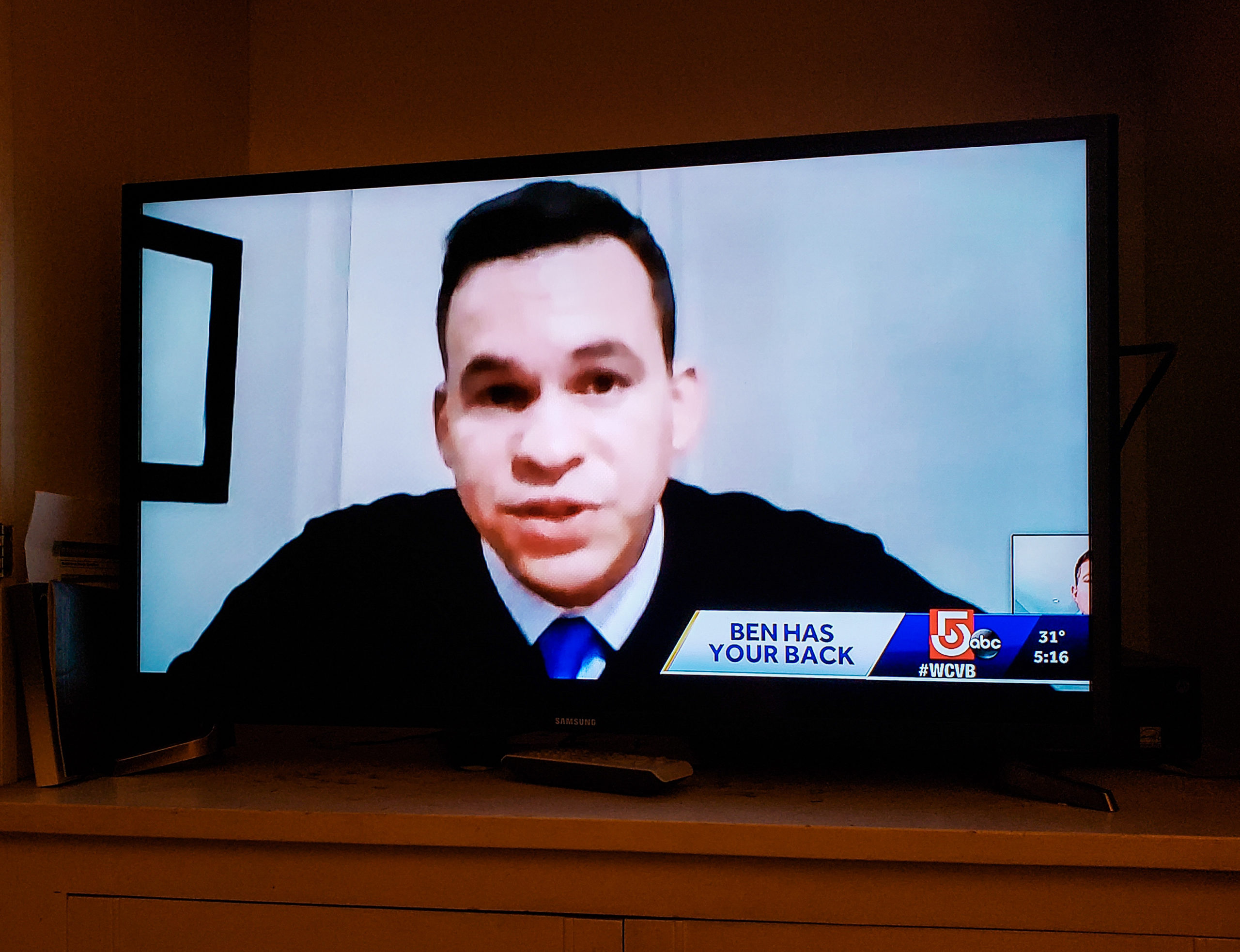 Rep. Sena being interviewed by Channel 5's Ben Simmoneau as part of resolving a constituent case in Shirley, MA