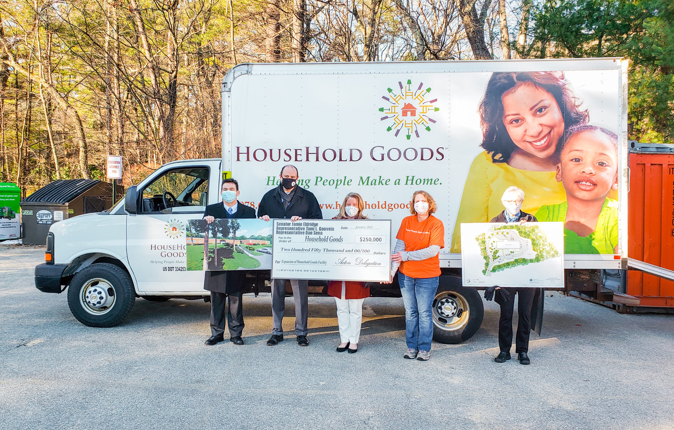 The Acton Delegation presents a Big Check to Household Goods, which provides furnishings for people in need, Acton, MA (L-R: Rep. Sena, Sen. Eldridge, Rep. Gouveia, Sharon & Barbara of Household Goods)