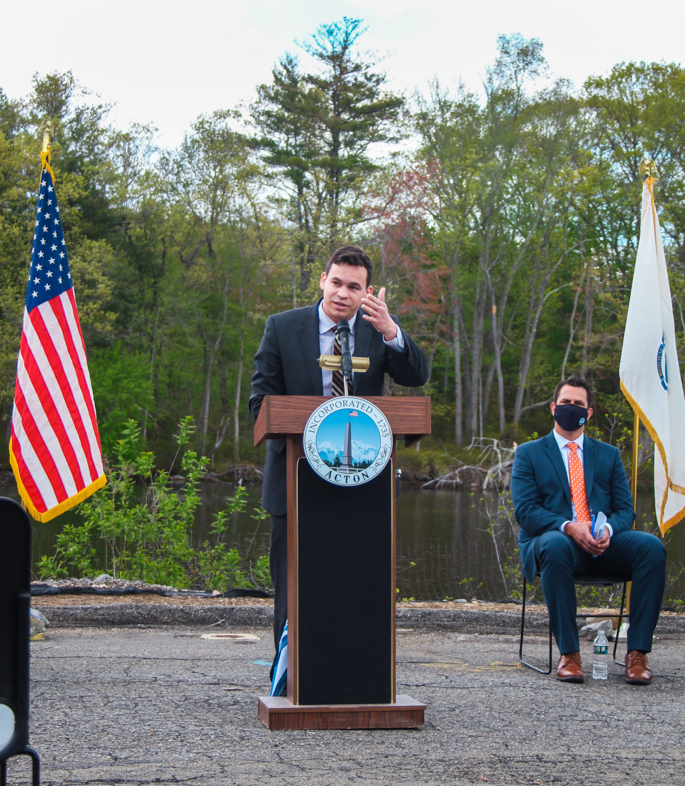 Rep. Sena speaks at a MassWorks celebration of a $2,750,000 state grant to support the construction of Powder Mill Place, a 40B housing development with 59 affordable units in South Acton