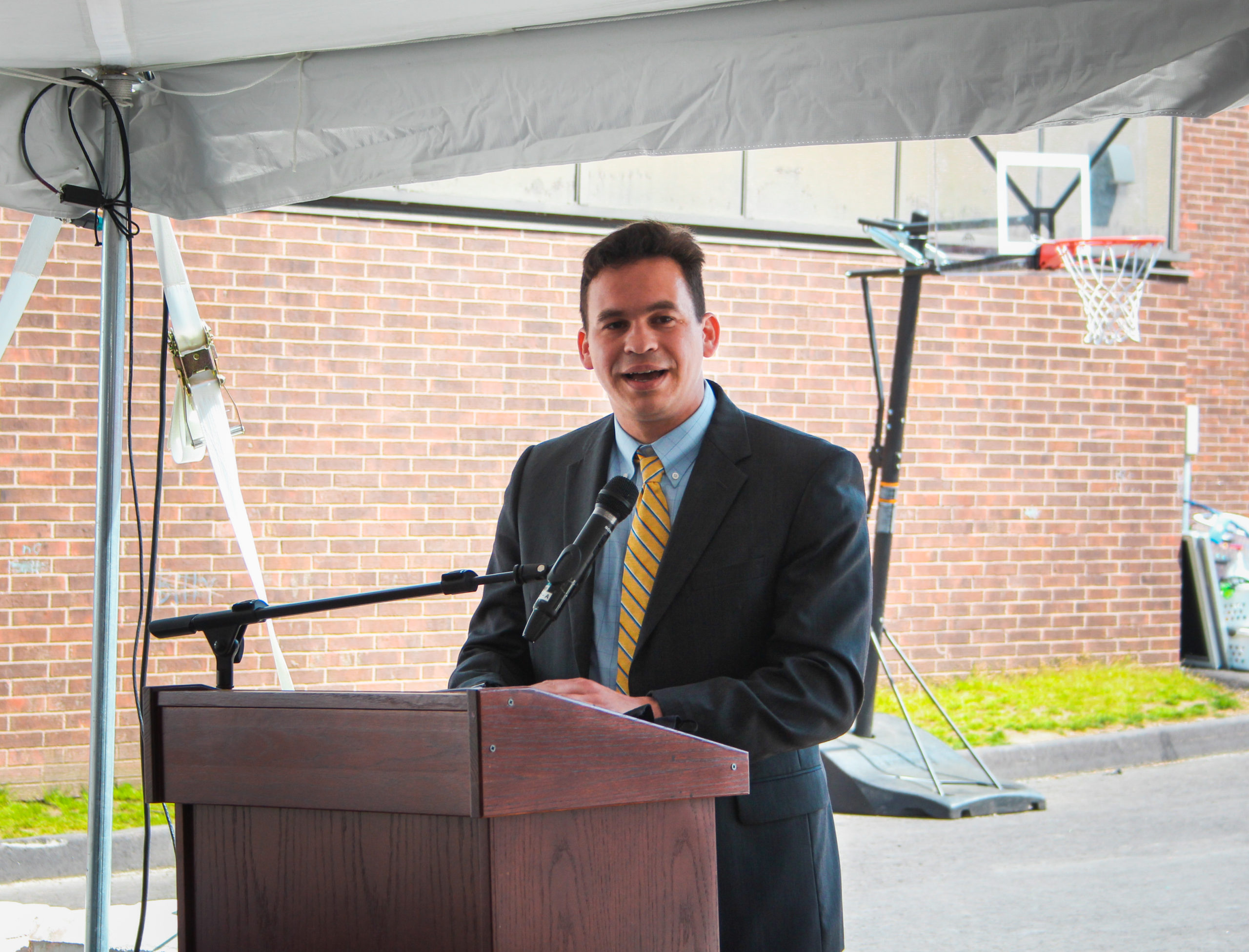 Rep. Sena speaks at the topping off ceremony for the new Twin Elementary School in West Acton
