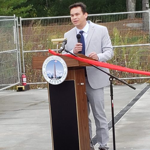 Rep. Sena speaks at the ribbon cutting for new, accessible facilities at the NARA Park Sports Pavilion, which will serve those visiting NARA Park and Joseph Lalli Miracle Field