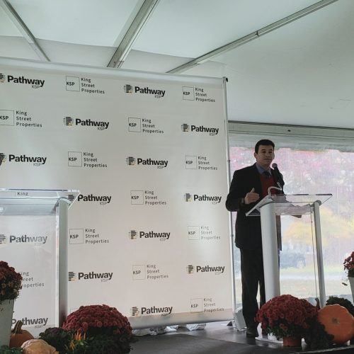 Rep. Sena speaks at the kick off for King Street Properties' new biomanufacturing campus in Devens, MA